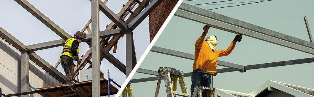 Empleados construyendo estructuras metalicas