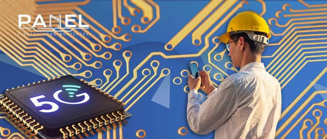 Chip de tecnologia 5G e ingeniero con telefono. Panel y Acanalados.